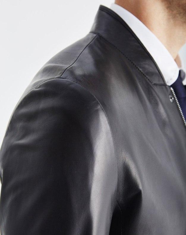 Black Stand Collar Men's Fur & Leather