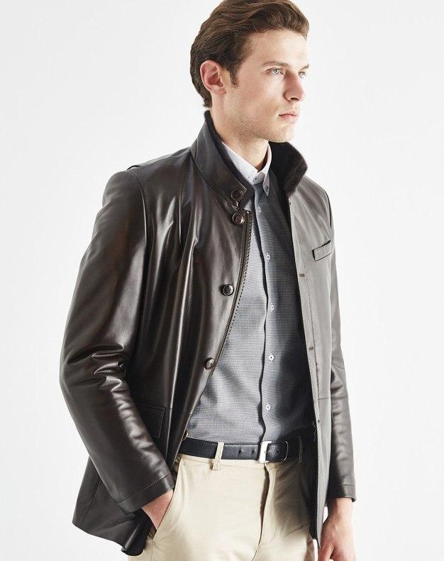 Coffee Stand Collar Men's Fur & Leather