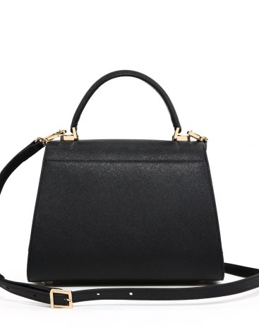 Black Plain Cowhide Leather Kelly Bag Small Women's Totes