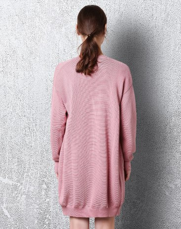 Pink V Neck Single Breasted Long Sleeve Standard Women's Sweater