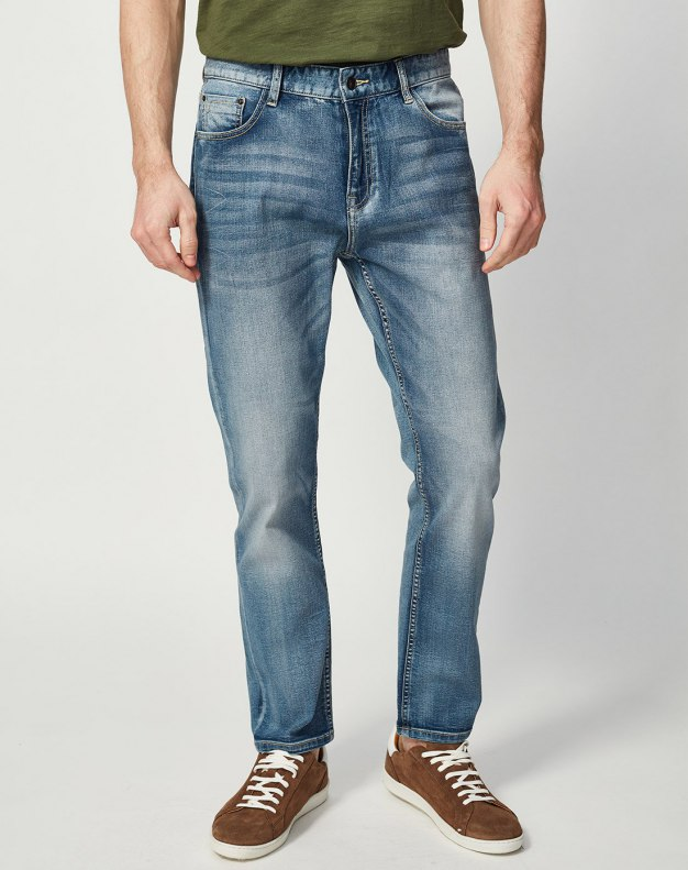 Washed Light Elastic Fitted Men's Jeans