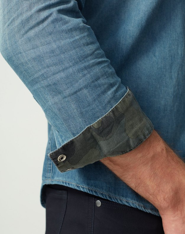Gradient Square Neck Long Sleeve Standard Men's Shirt