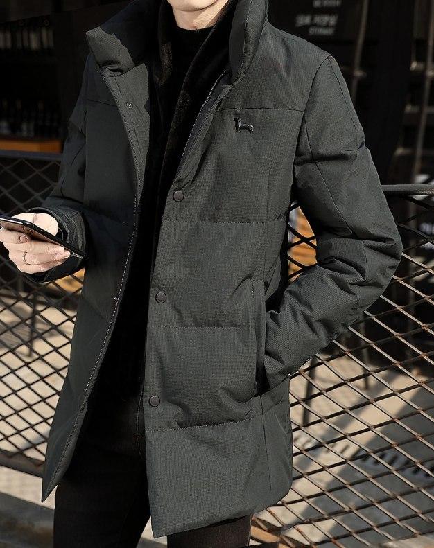 Black Double Layers Long Sleeve Men's Down Coat