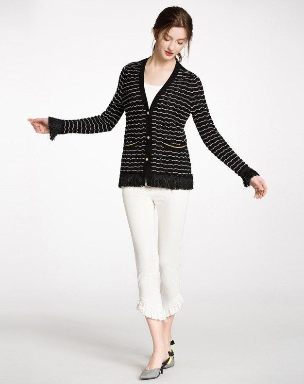 Black Stripes Regular Collar Long Sleeve Women's Knitwear