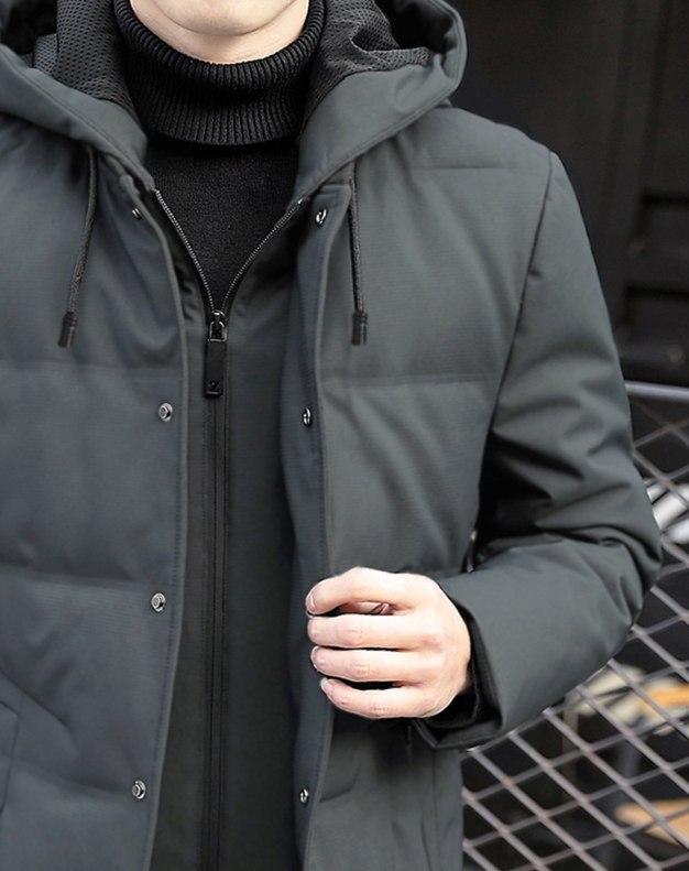 Gray Double Layers Long Sleeve Standard Men's Down Coat