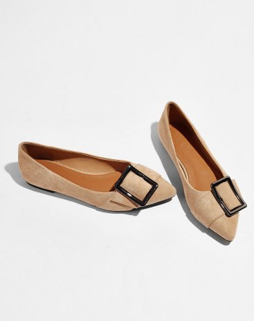 Camel Pointed Flat Women's Pumps