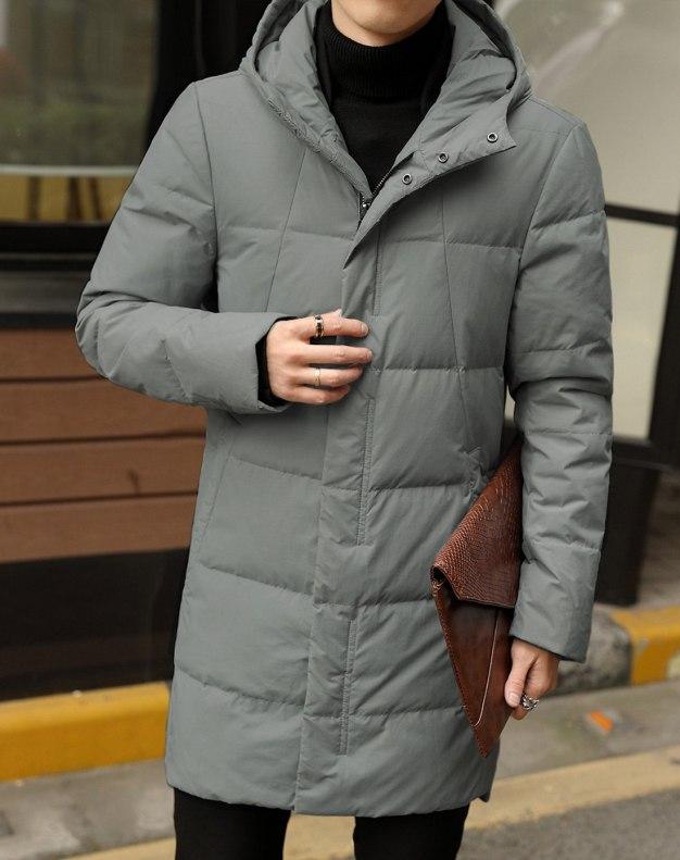 Gray Hidden Hood Long Sleeve Standard Men's Down Coat