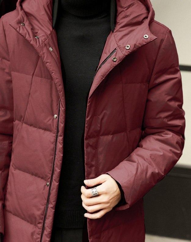 Red Hidden Hood Long Sleeve Loose Men's Down Coat