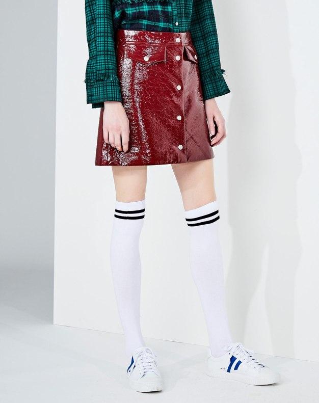 레드 짧은 치마 여성 A라인 드레스 스커트