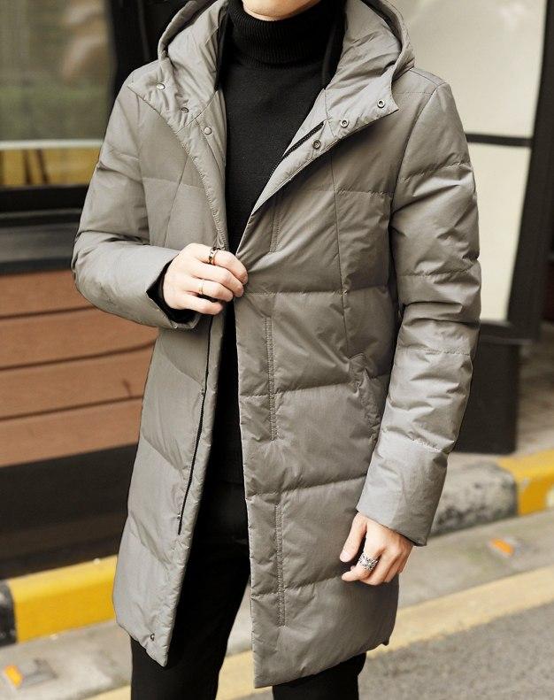 Gray Hidden Hood Long Sleeve Loose Men's Down Coat
