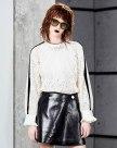 화이트 줄무늬 긴소매 표준 여성 블라우스