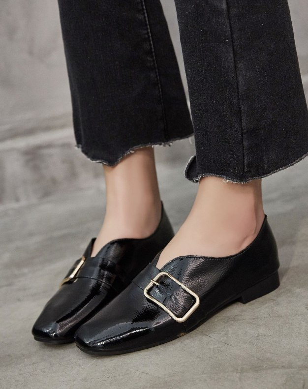Black Round Head Flat Women's Pumps