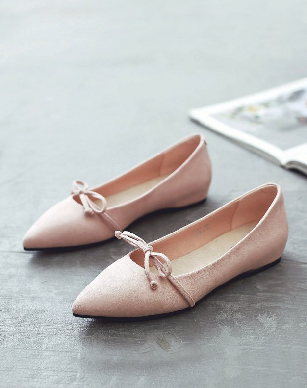 Pink Pointed Flat Women's Pumps