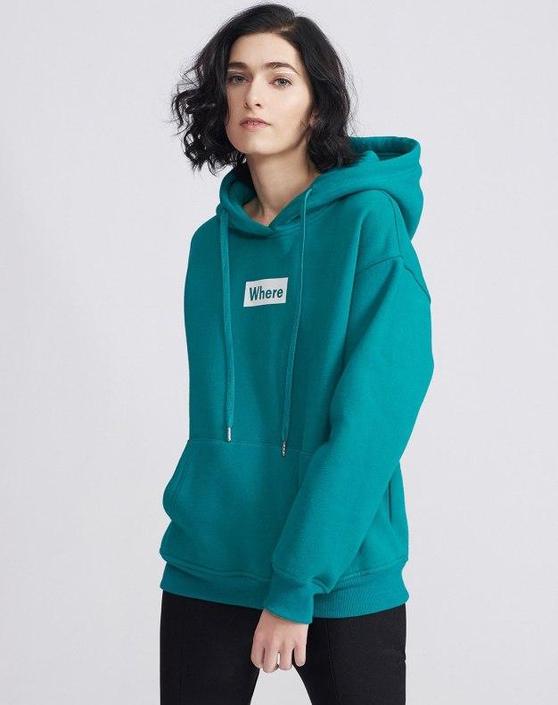 Green Long Sleeve Loose Women's Sweatshirt