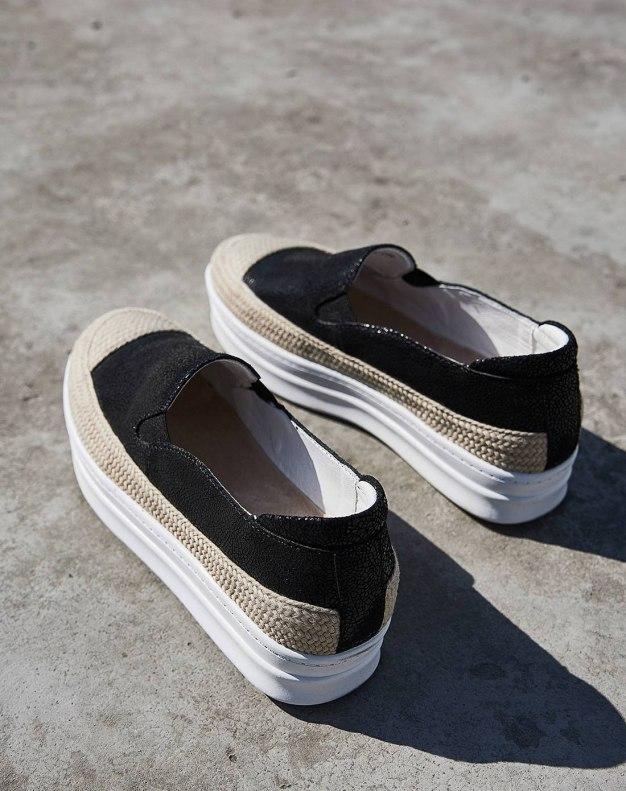 Black Round Head Flat Women's Loafers