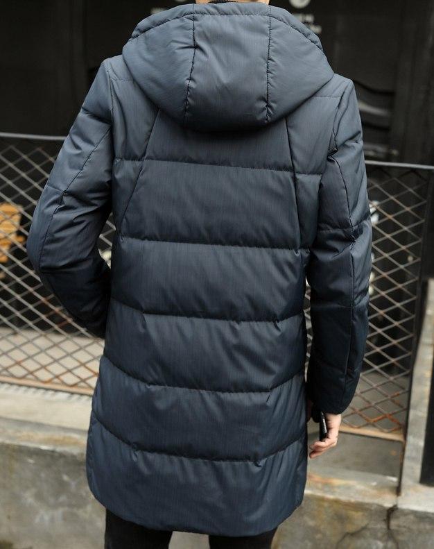 Blue Hidden Hood Long Sleeve Standard Men's Down Coat