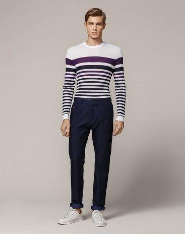 Blue Pockets Light Elastic  Fitted  Men's  Jeans