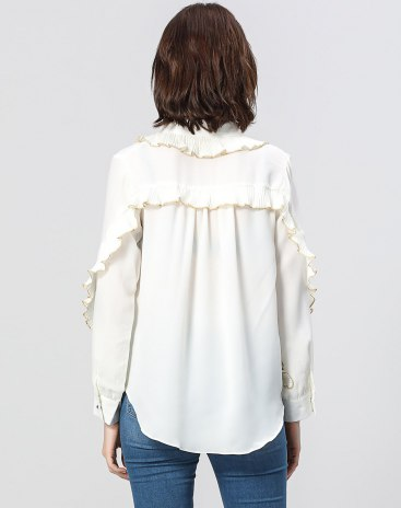 White Plain Peter Pan Collar Long Sleeve Standard Women's Shirt