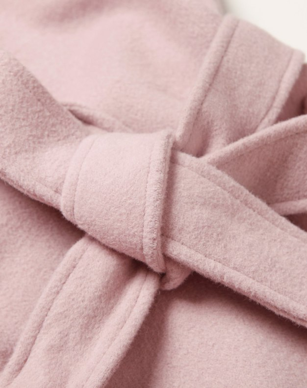 Pink Plain Lapel Drawstring Type Long Sleeve Fitted Women's Coat