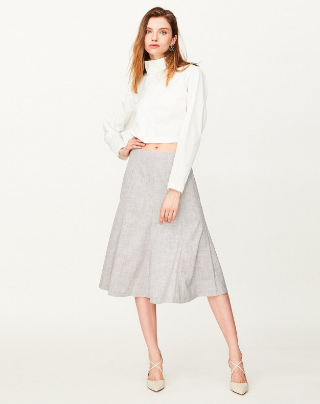 Gray 3/4 Length Women's Pleated Skirt