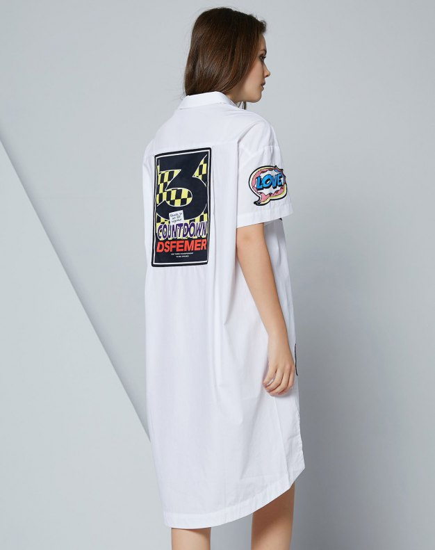 화이트 알파벳 반팔 티셔츠 표준 여성 블라우스