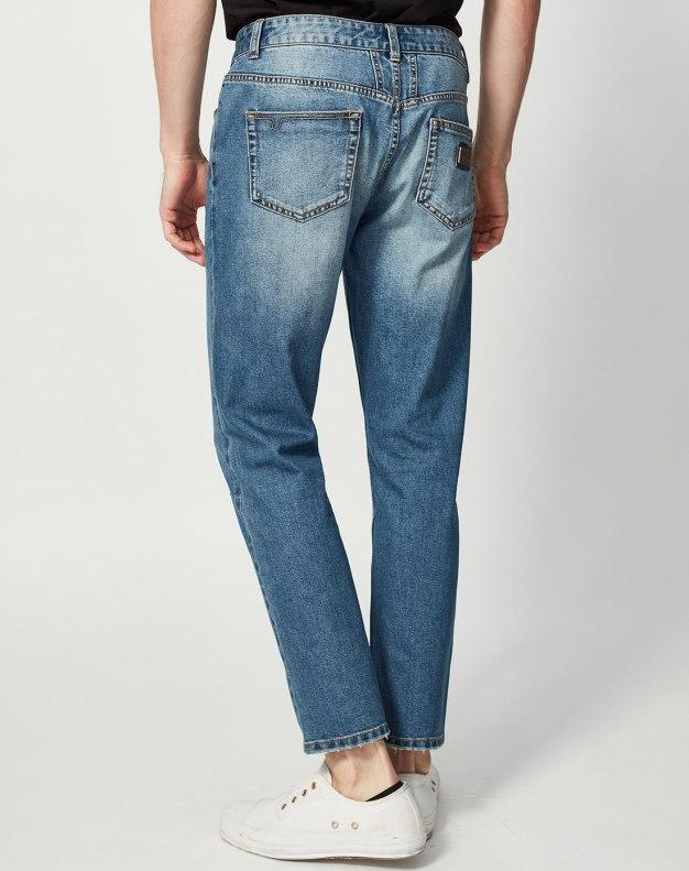 Blue Ripped Light Elastic Men's Jeans
