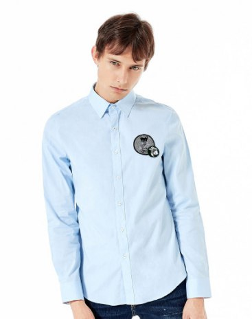 Blue Embroidery Lapel Long Sleeve Fitted Men's Shirt