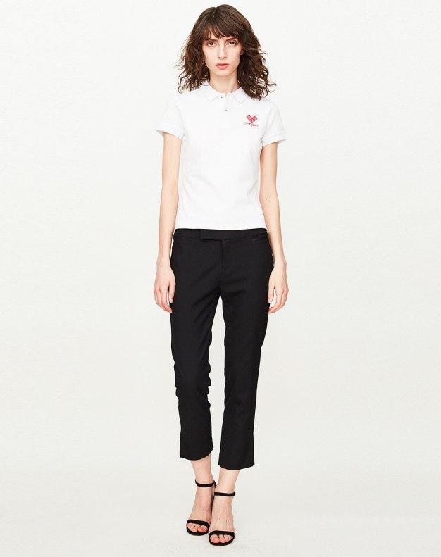 White Lapel Short Sleeve Fitted Women's T-Shirt