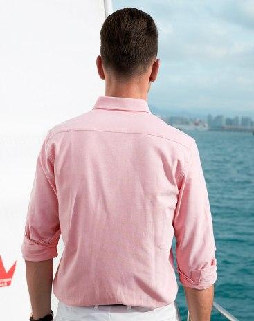 Red Plain Square Neck Standard Men's Shirt