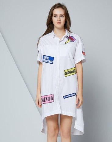 White Lapel Single Breasted Short Sleeve Standard Women's Shirt