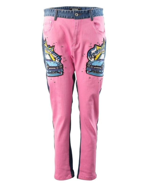 핑크 모자이크 디자인 로우웨스트 여성