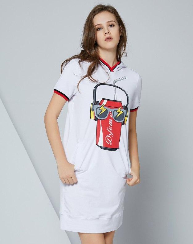 화이트 기타 반팔 표준 여성 티셔츠