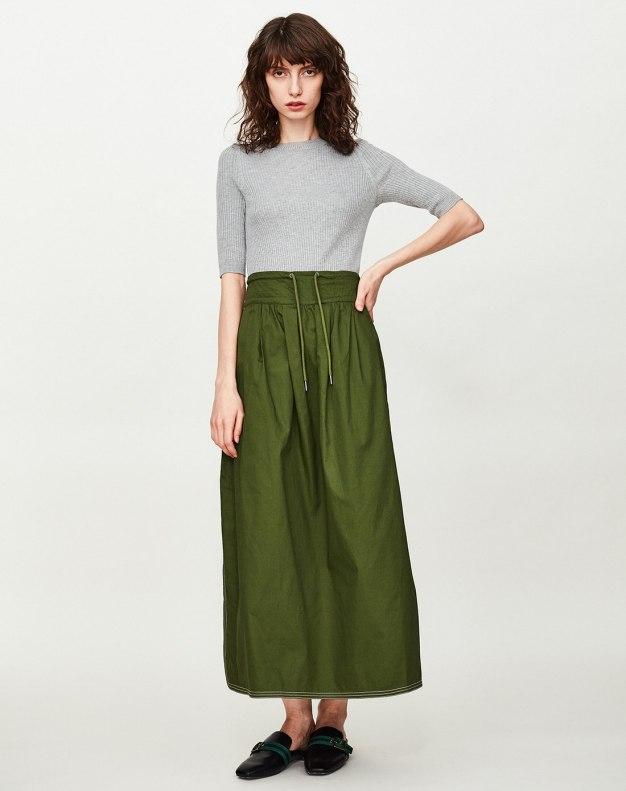 Green High Waist 3/4 Length Women's Pleated Skirt
