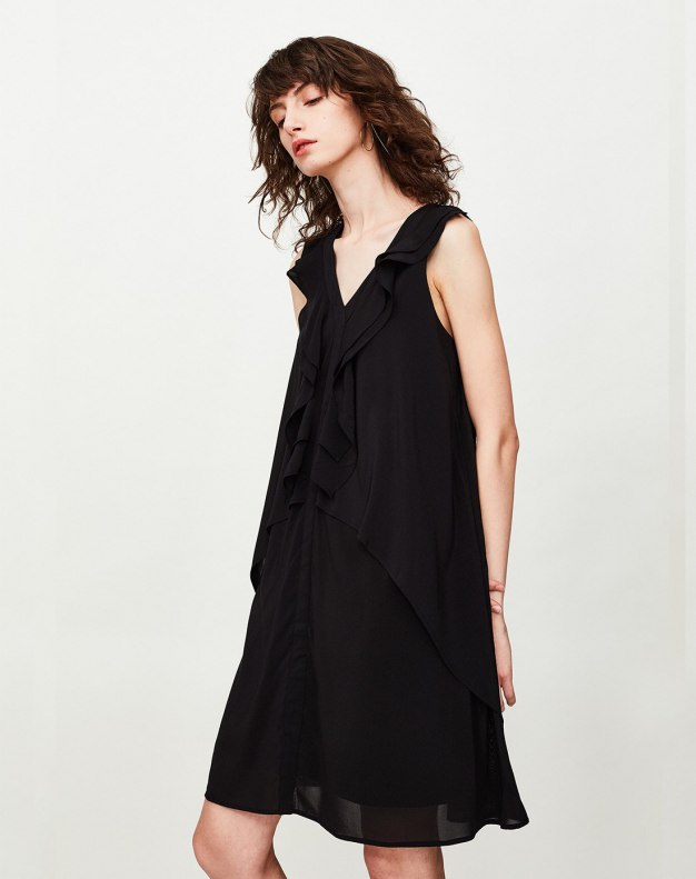Black V Neck Sleeveless Pleated Loose Women's Dress