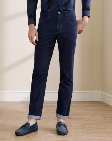 Blue Washed Light Elastic  Fitted  Men's  Jeans