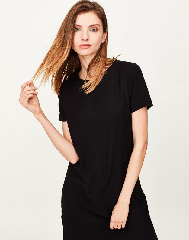 Black Round Neck Short Sleeve A Line Fitted Women's Dress
