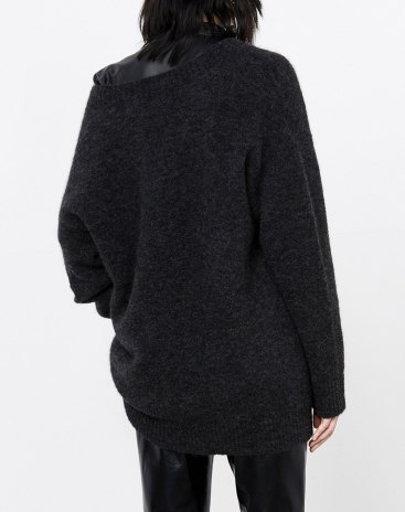 Gray Elastic Long Sleeve Loose Women's Sweater