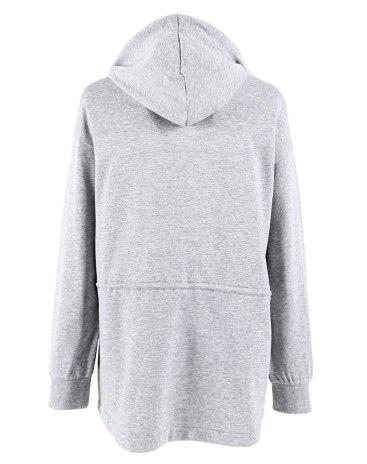 Gray Regular Collar Long Sleeve Loose Women's Sweatshirt
