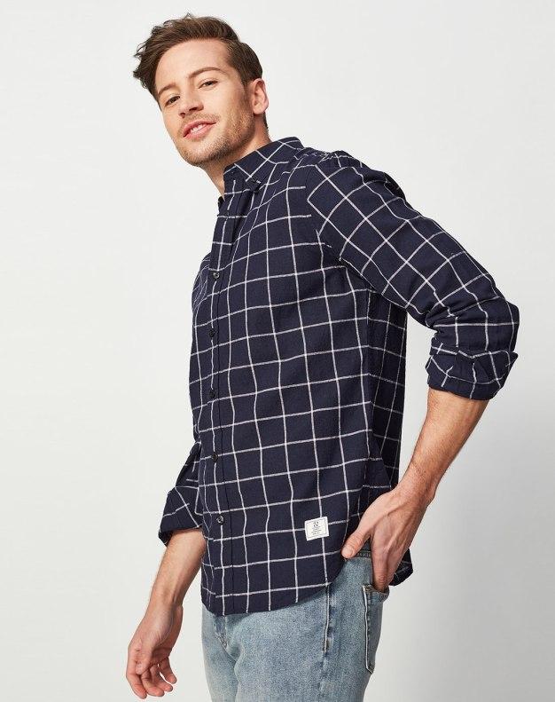 Belt Collar Long Sleeve Standard Men's Shirt
