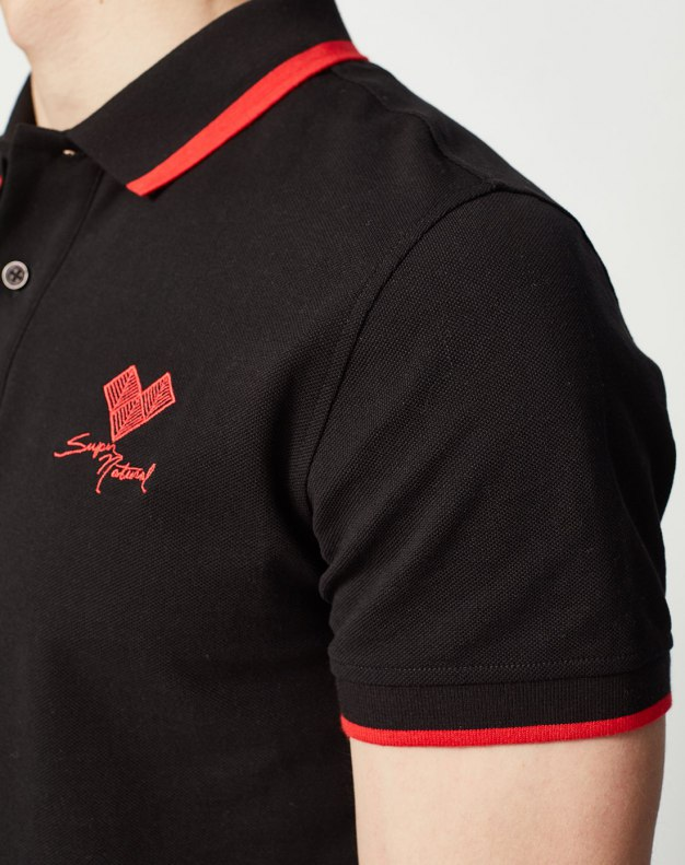Black Lapel Short Sleeve Standard Men's Polo