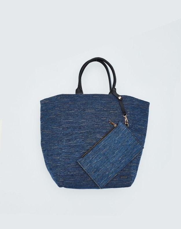 Blue Plain Envelope Bag Big Women's Tote