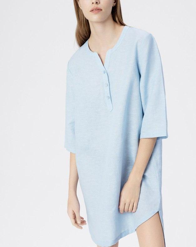 Blue Linen 3/4 Sleeve Standard Women's Sleepwear