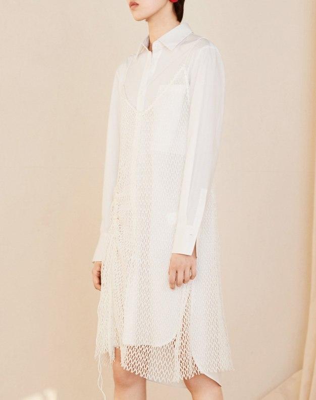 화이트 민소매 A라인 여성 드레스