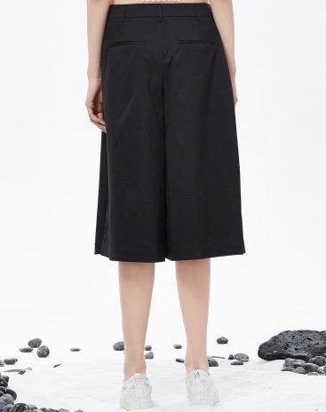 Black High Waist 3/4 Length Women's Pants