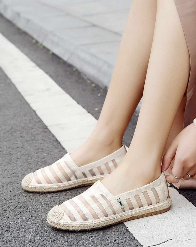 Beige Round Head Flat Women's Casual Shoes