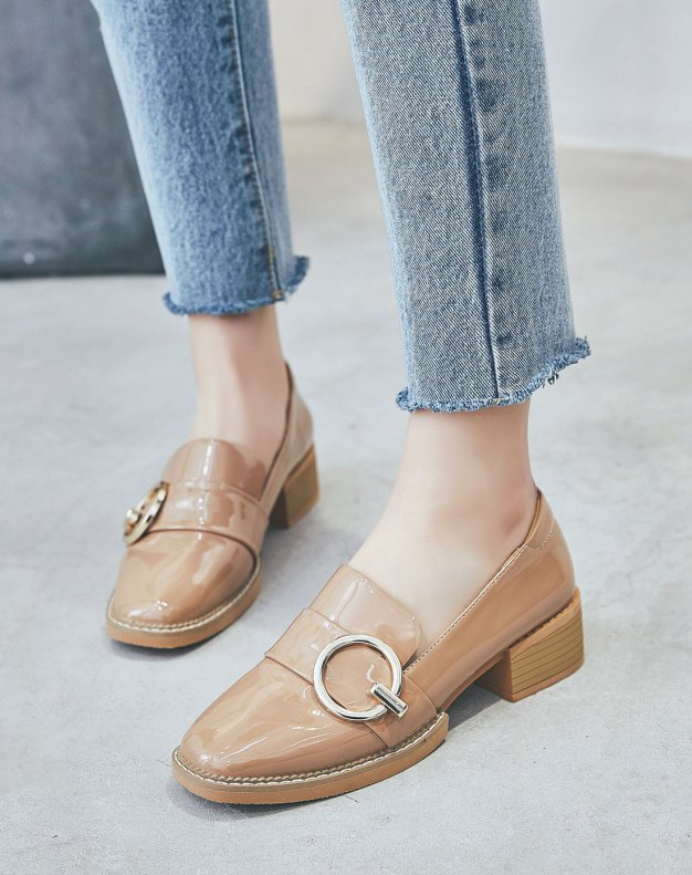 Apricot Square Toe of Shoes Middle Heel Women's Pumps