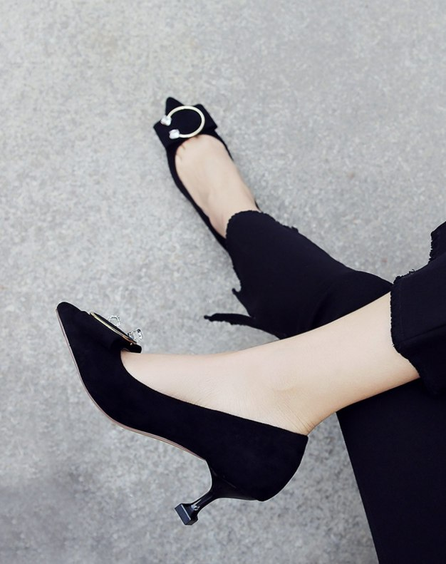 Black Pointed High Heel Women's Pumps