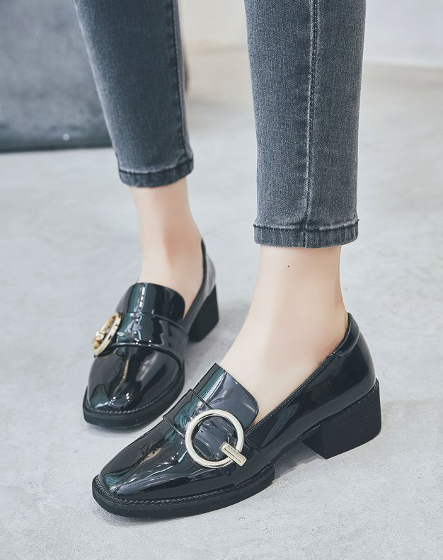 Black Square Toe of Shoes Middle Heel Women's Pumps