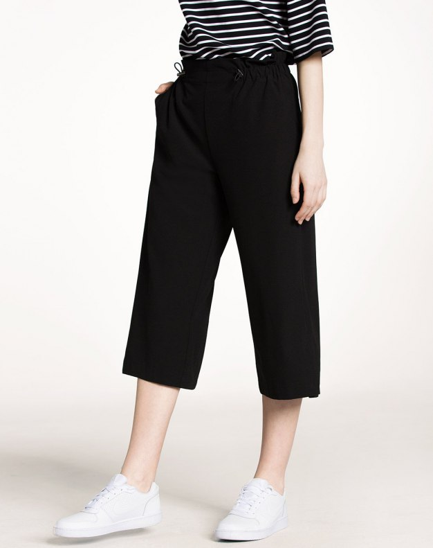 Black Draw Cord Decoration Cropped Women's Pants