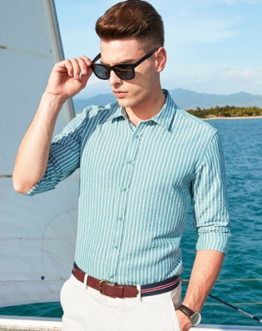 Green Long Sleeve Standard Men's Shirt
